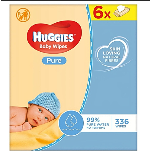 Huggies Pure Baby Wipes 6 Packs X 56 (336 Count) (UK)