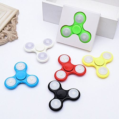 LED Light Fidget Spinner Plastic Finger Tri Spinner Stress Anxiety Reducer Decompression Toys For All Ages Color:Random Color