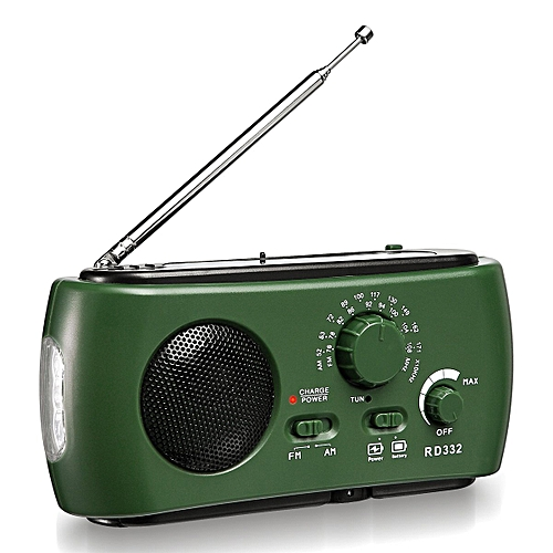 Emergency Solar Crank AM FM Camp Radio With LED Flashlight, USB Output Port, Reading Lamp