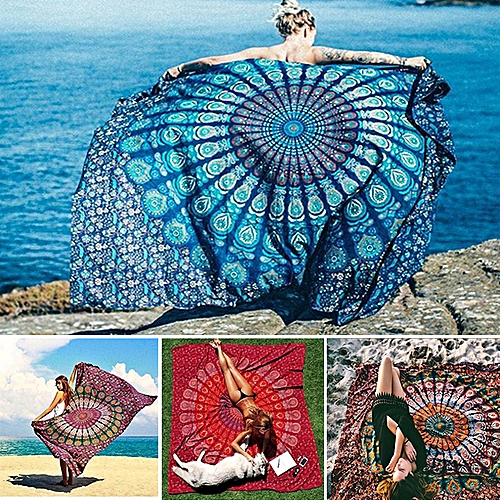 Honana WX-99 New 150x210cm Bohemian Style Polyester Fiber Beach Towel Mat Tapestry Mandala Rectangle Bed Sheet