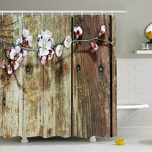 Rustic Shower Curtain Blooming Spring Flowers Print For Bathroom 70 Inches Long