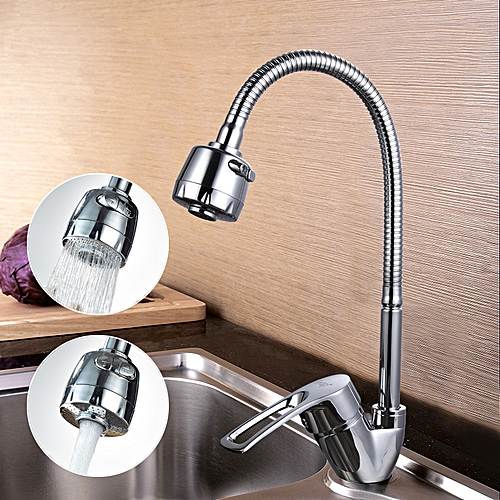 FRAP F4319 High Quality Kitchen Desk Mounted Silver Double Handles Sink Faucet