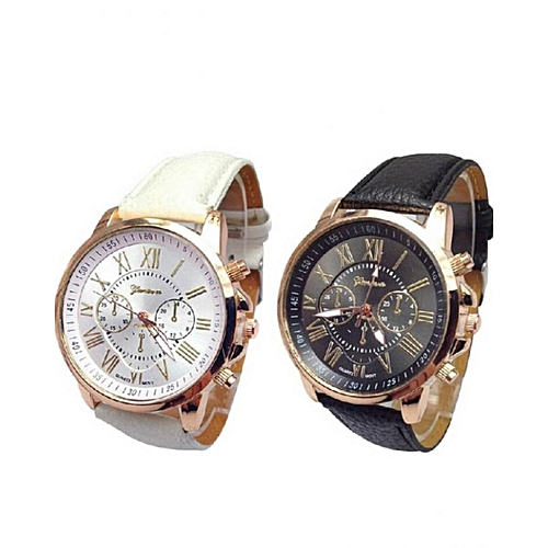 Geneva 2 In 1 Women's Dress Style Matching Leather Watch - Black/White