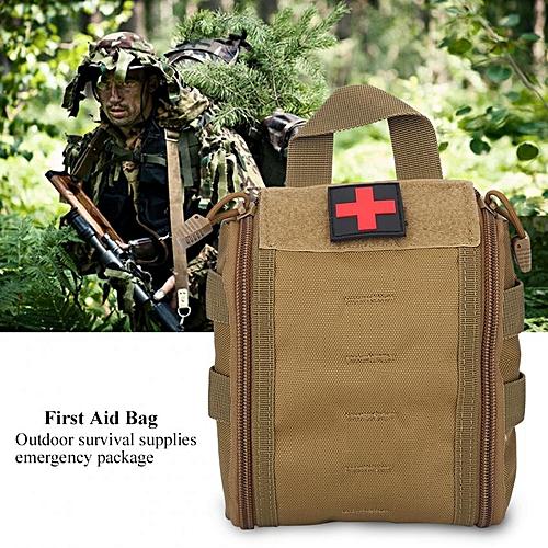 Home Car Emergency First Aid Rescue Survival Bag Trauma Case Medical Tactic Pouch (Khaki)