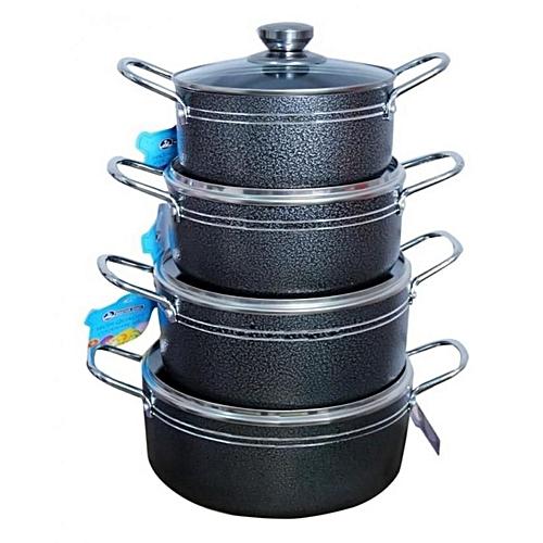 4pcs Non Stick Pot Black
