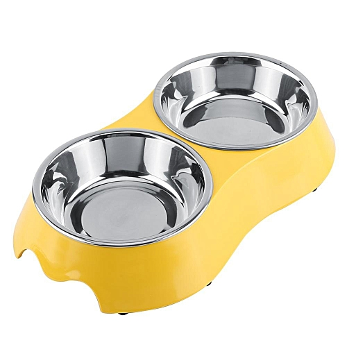Stainless Steel Double Diner Dish Food Water Bowl Removable Pet Feeder Yellow