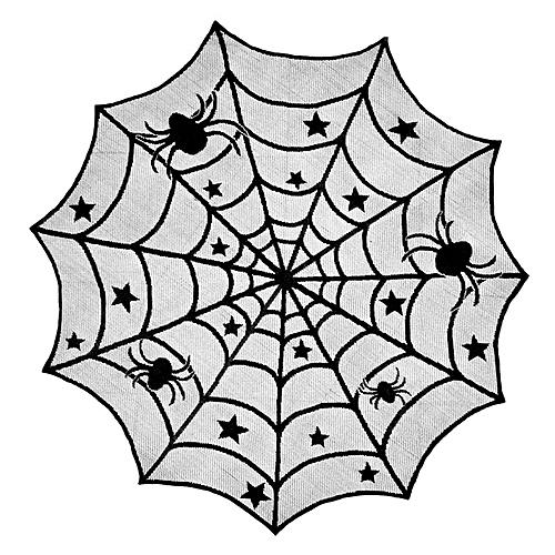 Halloween Lace Table Cloth Black Spider Net Mesh Decoration - Black