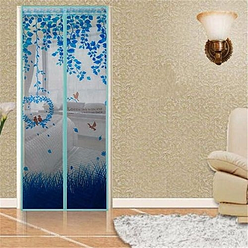 Magic Mesh Magnetic Screen Door Mosquito Net Curtain Protect From Insects Blue