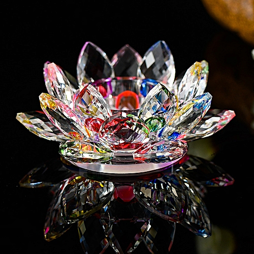 Eissely 7 Colors Crystal Glass Lotus Flower Candle Tea Light Holder