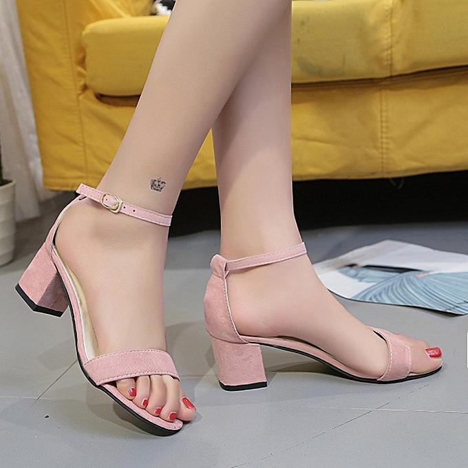 c9c4222d966 ... Fovibery Fashion Women Ladies Sandals Ankle Mid Heel Block Party Open  Toe Shoes