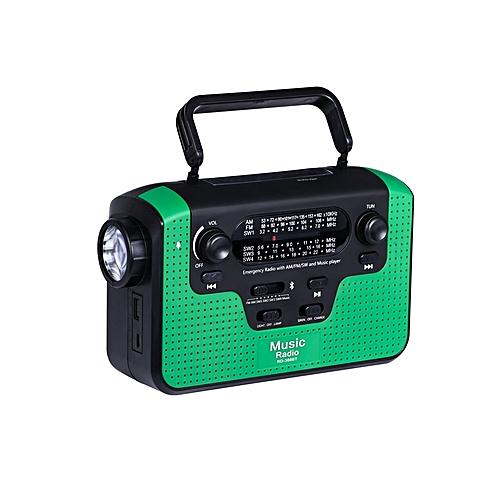 Solar Hand Crank Emergency AM/FM/SW/WB Radio (Green)