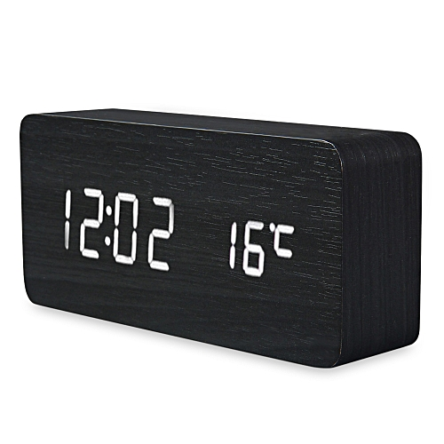 LED Wooden Alarm Clock Time Temperature Week Calendar Display For Home Office-White