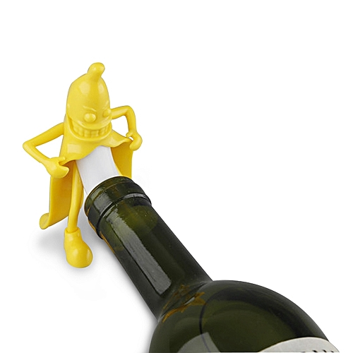 KCASA KC-SP004 Funny Mr. Banana Wine Stopper Novelty Bar Tools Wine Cork Bottle Plug Perky Interesti