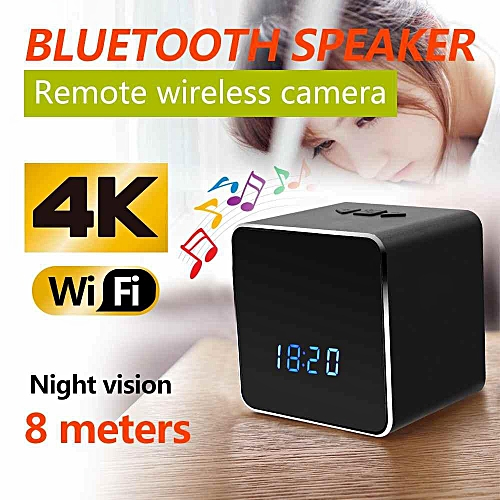 Z22 WIFI Wireless Bluetooth Speaker Music Player Electronic Clock 4K HD Security Night Vision Hidden Camera For Android/iOS-Black By HT