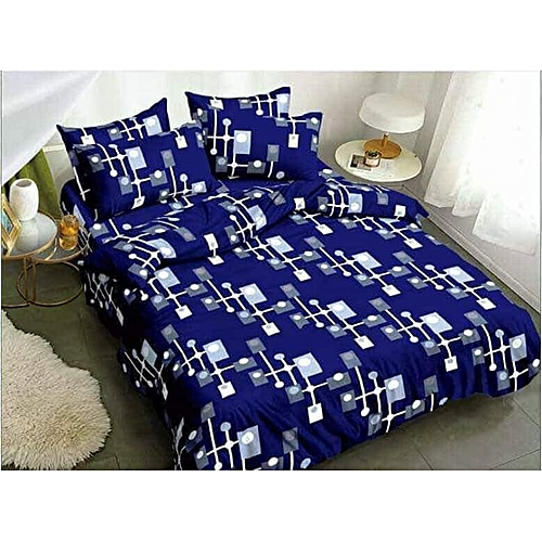 Blue And White Bedsheet And Duvet With Four Pillow Cases