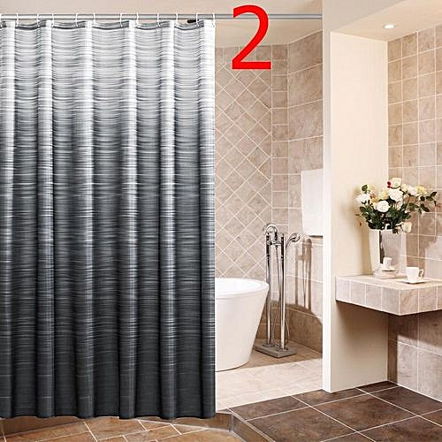 180x180cm Waterproof Mildew Shower Curtain Grey+Black