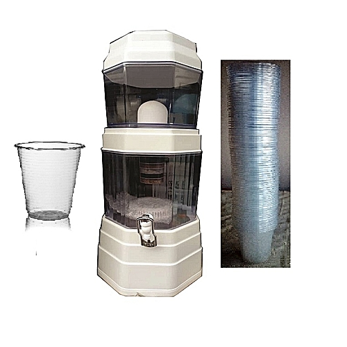 Water Filter + Purifier + Dispenser + FREE 10 Cups - 25 Litres