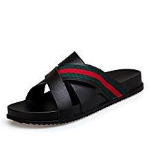 8cf5110ff804cc Fashion Mens Summer Open Toe Casual Beach Sandals 3 Strap Slipper Black