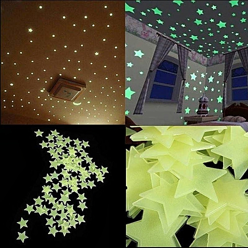 3D Stars Glow In The Dark Luminous Stickers Wall Decal