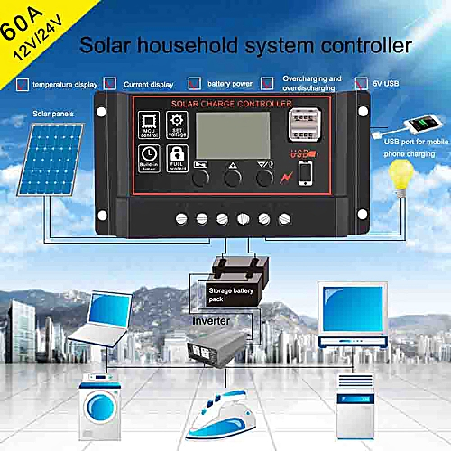 Practical 60A Solar Panel Controller Battery Charge Regulator 12V/24V Auto With Dual USB