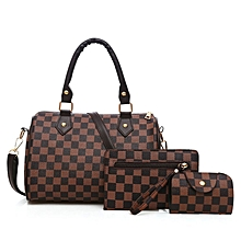 a215683dceb1 3 Pieces set Vintage Elegant Woman Bag Fashion Pillow Bag Handbag Shoulder  Bag Brown