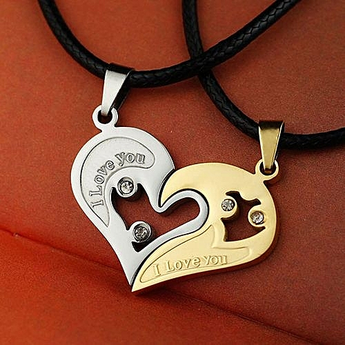 New Fashion Lover Couple Necklace I Love You Heart-shaped Pendant Necklace Stainless Steel