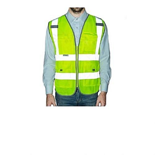 Reflective Safety Jacket Pockets High Visibility Zipper Front Safety Vest With Reflective Strips And Pocket