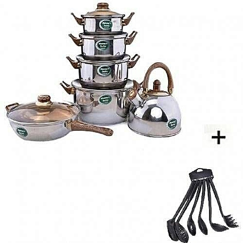 Set Of Pot With Kettle And Frypan Plus Spoon