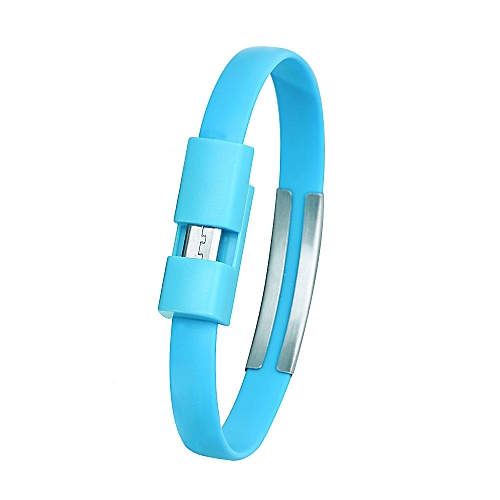 Wristband Micro USB Cable Charger Charging Data Sync For Cell Phone -Light Blue