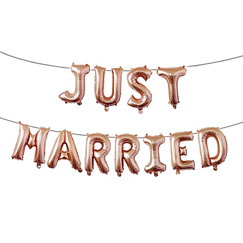 Balloons For Wedding Banquets, JUST MARRIED Flags For Wedding Engagement Party Decoration