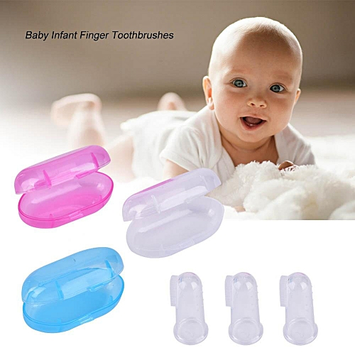 [Free Shipping]Baby Kids Infant Silicone Finger Toothbrush With Case Tongue Brush Oral Cavity Cleaning Tool