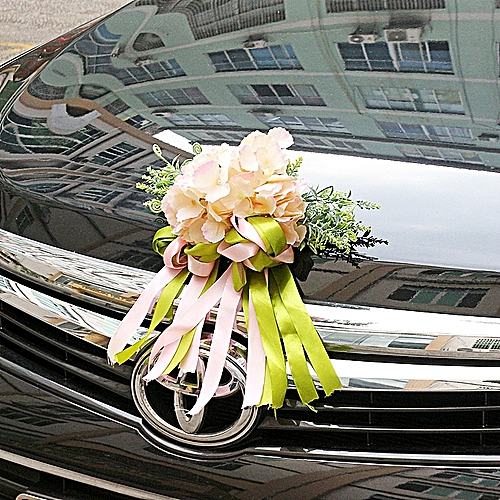 Silk Wedding Car Artificial Flower Bow Ribbon Handles Rearview Mirror Decoration