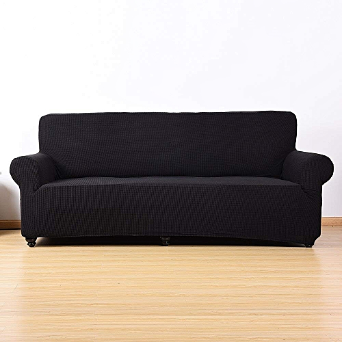 Stretch Sofa Cover Polyester 3 Seater Slipcover Protector Couch Cover Black