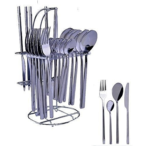 Stainless Table Spoons, Knives And Forks - 24Pcs Dining Cutlery Set-