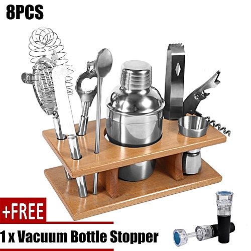 [free Gift] 8pcs Stainless Steel Tail Shaker Mixer Drinker With Wood Holder Stand Drinking Tool Bar