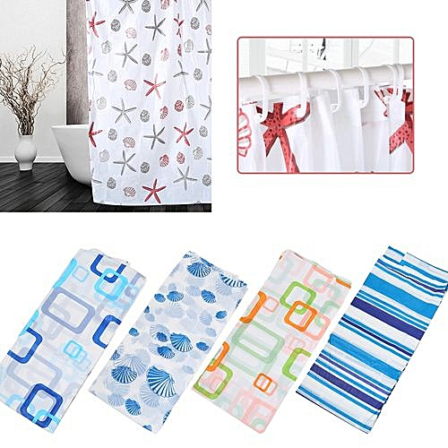 Shower Curtain With Hooks Waterproof Moisture Proof Curtain