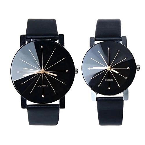 Fashion Herkiller 1 Pair Of Couple Wrist Watch Casual PU Leather Round Dial Watchband (Black)