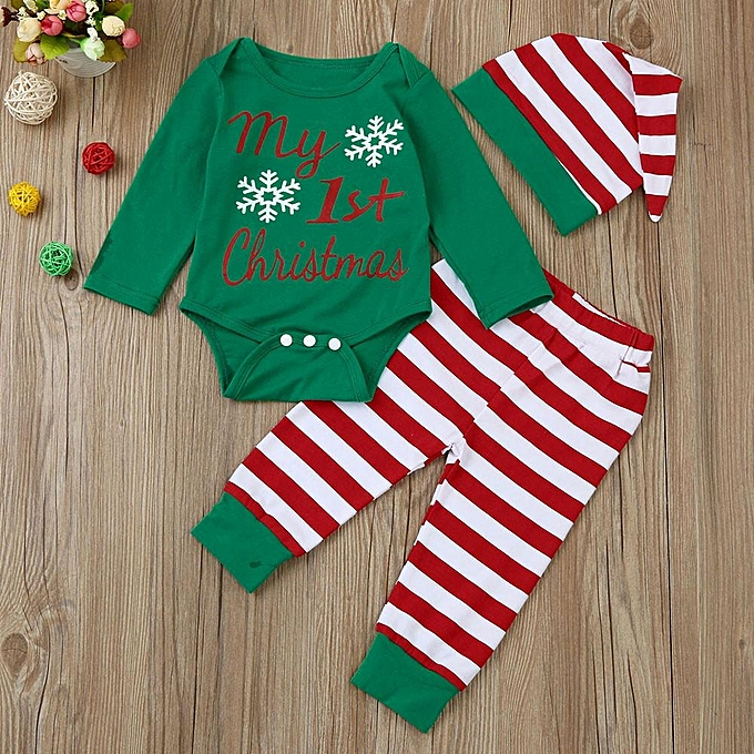 d47d4c245bc6 Fashion Kid Newborn Infant Baby Boy Girl Romper Tops+Striped Pants ...