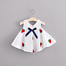 06c5f8c9d96 Newborn Baby Girls Floral Cartoon Print Bowknot Embroidery Princess  DressClothesOutfits Musiccool
