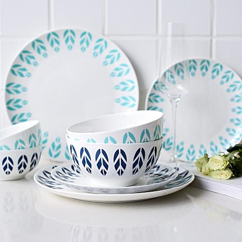 Japanese Style Fresh Blue Leaf Ceramic Cutlery Plate Home Dish Western Dish