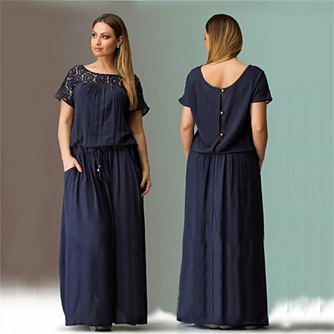 Summer Short Sleeve Lace Summer Dress Big Sizes New Women Summer Long Dress  Maxi Party Dress 8f8096482786