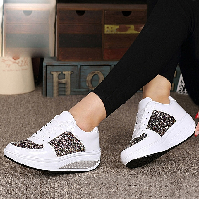 7de2025b5632 Women s Ladies Wedges Sneakers Sequins Shake Shoes Fashion Girls Sport  Shoes(CN Size)