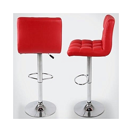 Chrome Faux Leather Swivel Barstool - Red