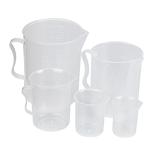 Plastic Beaker Set 5 Sizes 50 100 250 500 And 1000ml-White