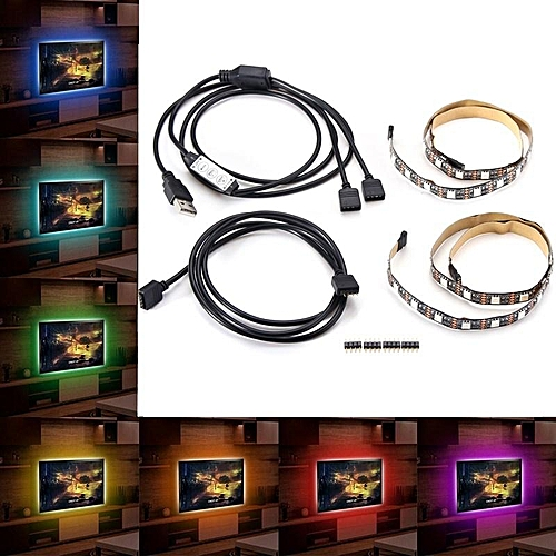 2 In 1 50CM USB RGB TV Backlight LED Strip Light Colour Changing Lighting Kit