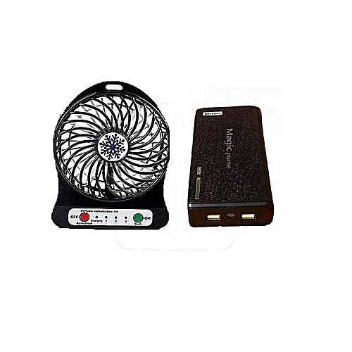 Mini Portable Rechargeable Cooling Fan Plus Free Power Bank