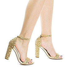 f7d7ed2ae64d Retro High Block Heel Party Sandal In Rock Glitter  amp  Ankle Strap -  Light Gold