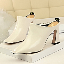 138f5f1152d Women Wind Fashion Simple Shoes Comfortable Thick With High-Heeled  Embroidery Line Square Head Sexy