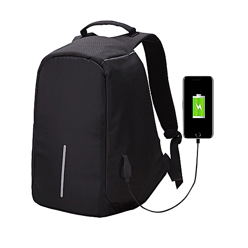 Multi-function Large Capacity Travel Anti-theft Security Casual Backpack Laptop Computer Bag With External USB Charging Interface - Black