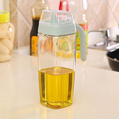1Pc Glass Oil Dispenser Vinegar Sauce Bottle Kitchen Supplies Storage Can Cruet(550ml Blue)